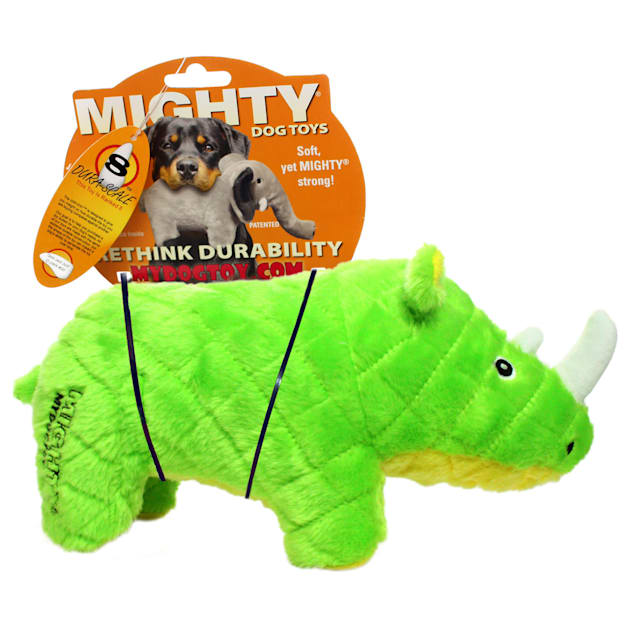 Mighty Toys Rhinoceros Durable Plush Squeaky Dog Toy, Large - Carousel image #1