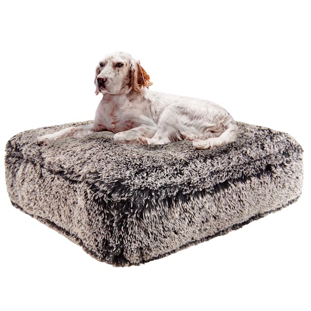 """Bessie and Barnie Frosted Willow Ultra Plush Faux Fur Luxury Shag Durable Sicilian Rectangle Pet Bed, 28"""" L X 24"""" W X 4"""" H - Carousel image #1"""