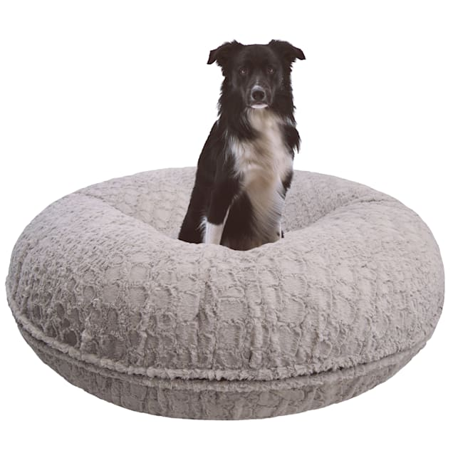 """Bessie and Barnie Signature Serenity Grey Luxury Extra Plush Faux Fur Bagel Pet Bed, 24"""" L X 24"""" W X 10"""" H - Carousel image #1"""