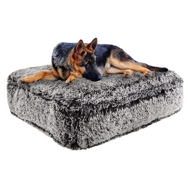 """Bessie and Barnie Midnight Frost Ultra Plush Faux Fur Luxury Shag Durable Sicilian Rectangle Pet Bed, 28"""" L X 24"""" W X 4"""" H - Carousel image #1"""