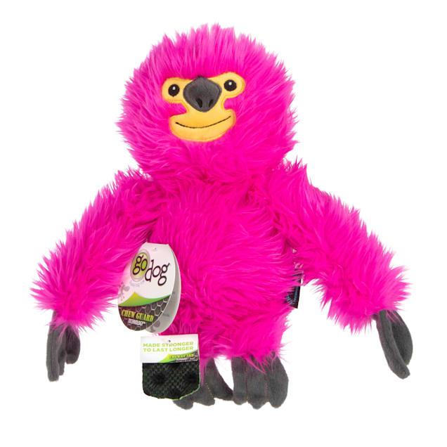 goDog Pink Fuzzy Sloth Dog Toy, Large - Carousel image #1