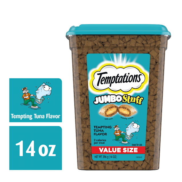 Temptations Jumbo Stuff Tempting Tuna Flavor Crunchy and Soft Cat Treats, 14 oz. - Carousel image #1