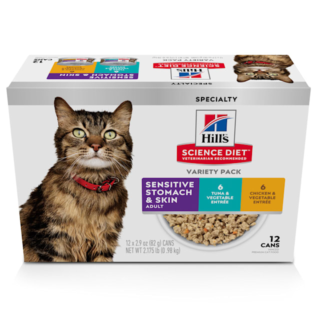 Hill's Science Diet Adult Sensitive Wet Cat Food Variety Pack, 2.9 oz., Count of 12 - Carousel image #1