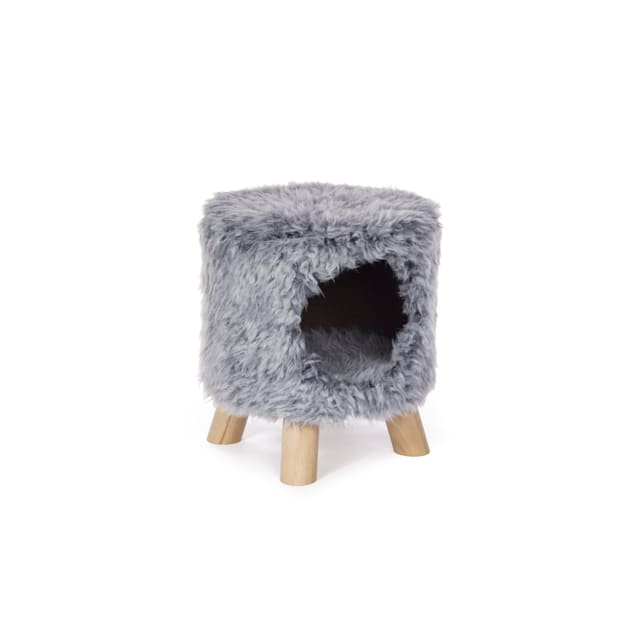 """Prevue Pet Products Kitty Power Paws Plush Cozy Cave Gray 7381, 11.25"""" H - Carousel image #1"""