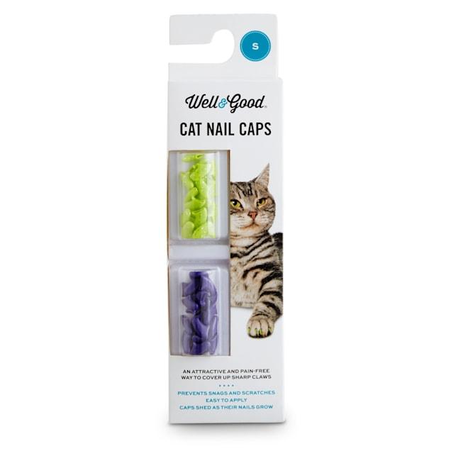 Well & Good Green & Purple Glitter Kitten Nail Caps, Small - Carousel image #1