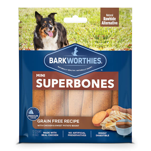 Barkworthies Grain Free Chicken & Sweet Potato Superbone Mini Dog Treats, 6 oz., Count of 12 - Carousel image #1