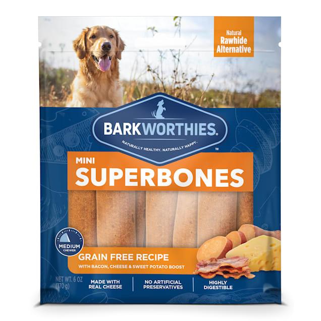 Barkworthies Grain Free Bacon, Cheese & Sweet Potato Superbone Mini Dog Treats, 6 oz., Count of 12 - Carousel image #1