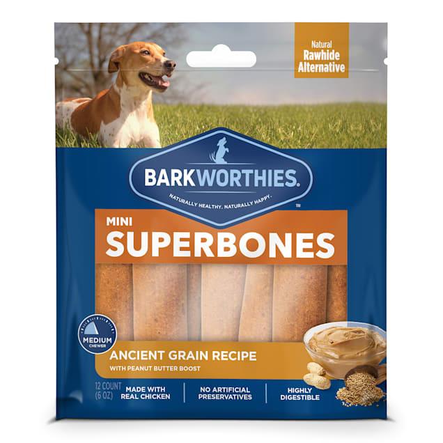 Barkworthies Ancient Grain Peanut Butter Superbone Mini Dog Treats, 6 oz., Count of 12 - Carousel image #1