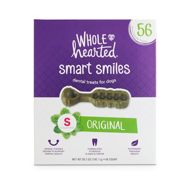 Wholehearted Smart Smiles Original Flavor Small Dog Dental Treats, 26.2 oz., Count of 56 - Carousel image #1