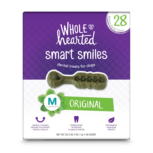 Wholehearted Smart Smiles Original Flavor Medium Dog Dental Treats, 26.2 oz., Count of 28 - Carousel image #1