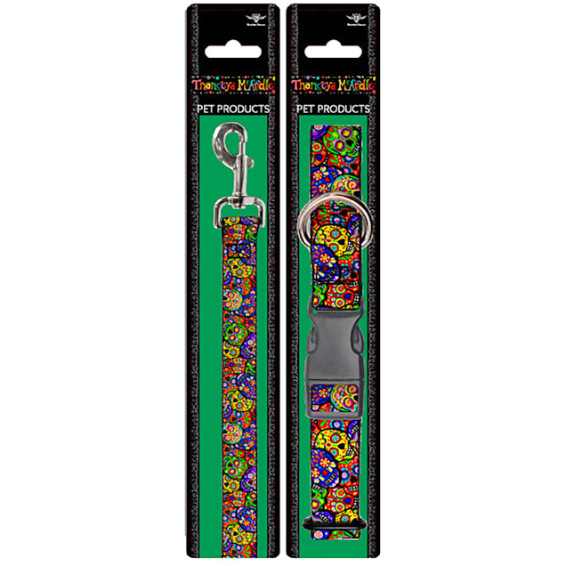 Buckle-Down Thaneeya Sugar Skulls Collar and Leash Set for Dogs, Small - Carousel image #1