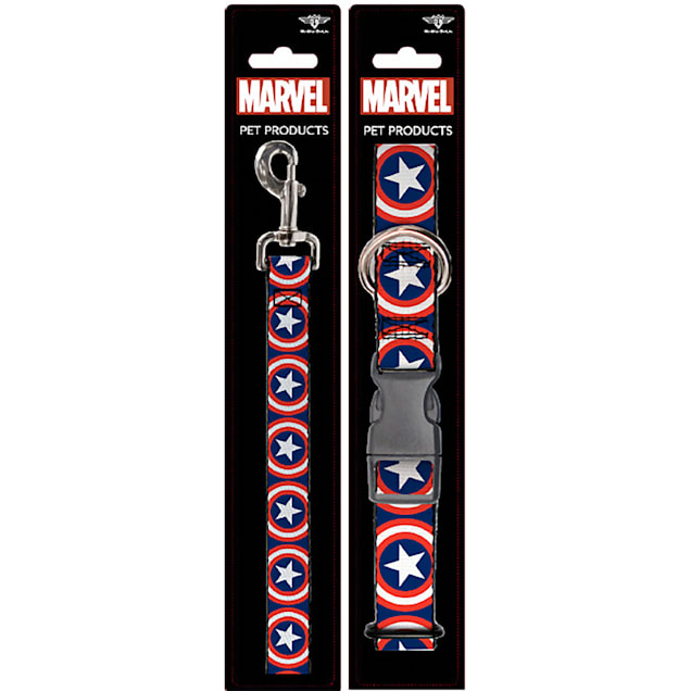Buckle-Down Captain America Collar and Leash Set for Dogs, Small - Carousel image #1