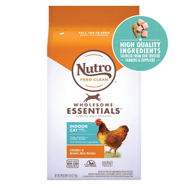 Nutro Wholesome Essentials Natural Indoor Chicken & Brown Rice Recipe Adult Dry Cat Food, 5 lbs. - Carousel image #1
