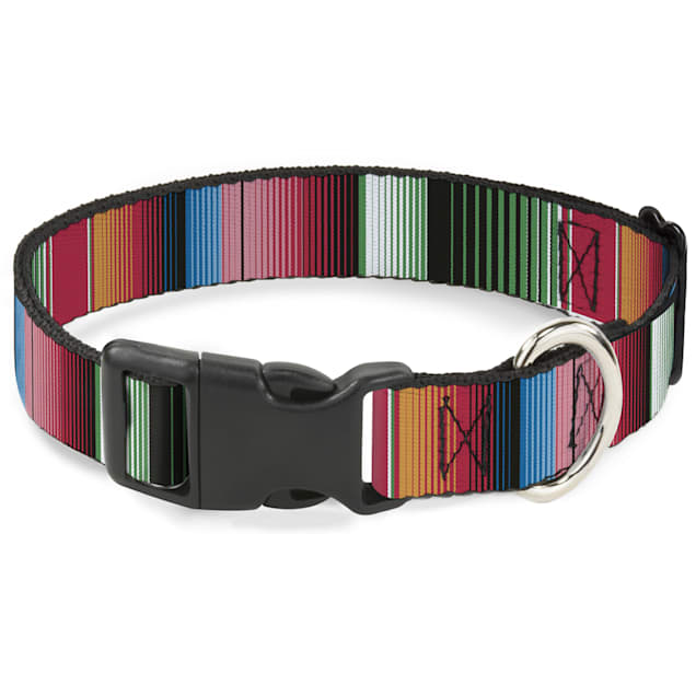 Buckle-Down Plastic Clip Collar Zarape5 Vertical Multi Color Stripe, 9-15 Inch Neck - Carousel image #1