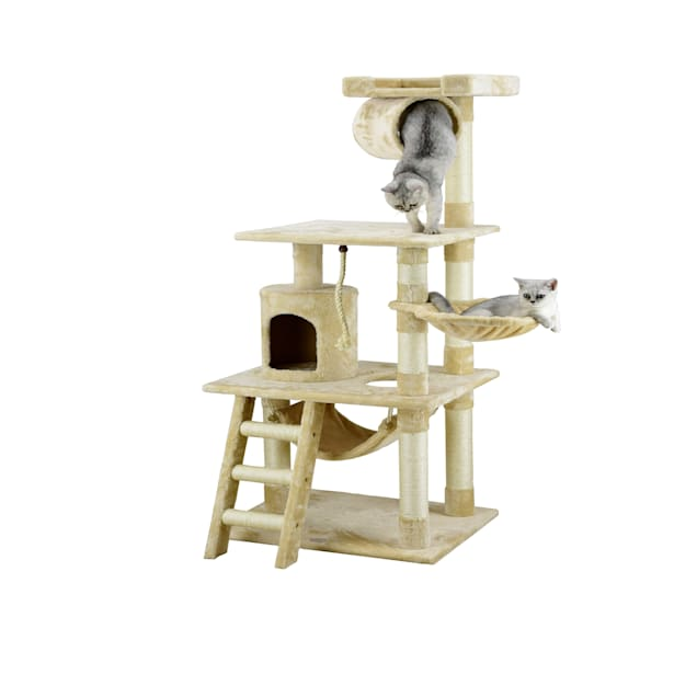 """Go Pet Club Beige 62"""" Cat Tree Condo with Hammock and Side Basket - Carousel image #1"""