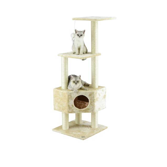 """Go Pet Club Beige 51"""" Cat Tree with Large Condo - Carousel image #1"""