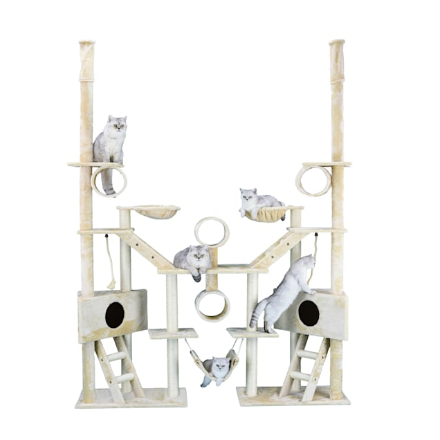 "Go Pet Club Beige 106"" Cat Tree with Ladders, Ropes, and Side Baskets - Carousel image #1"