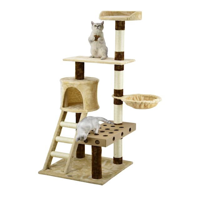 """Go Pet Club Beige and Brown 58.5"""" Cat Tree with IQ Box, Ladder, and Side Basket - Carousel image #1"""