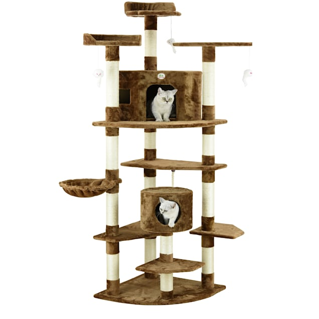 """Go Pet Club Brown 80"""" Cat Tree with Dangling Toys and Side Basket - Carousel image #1"""