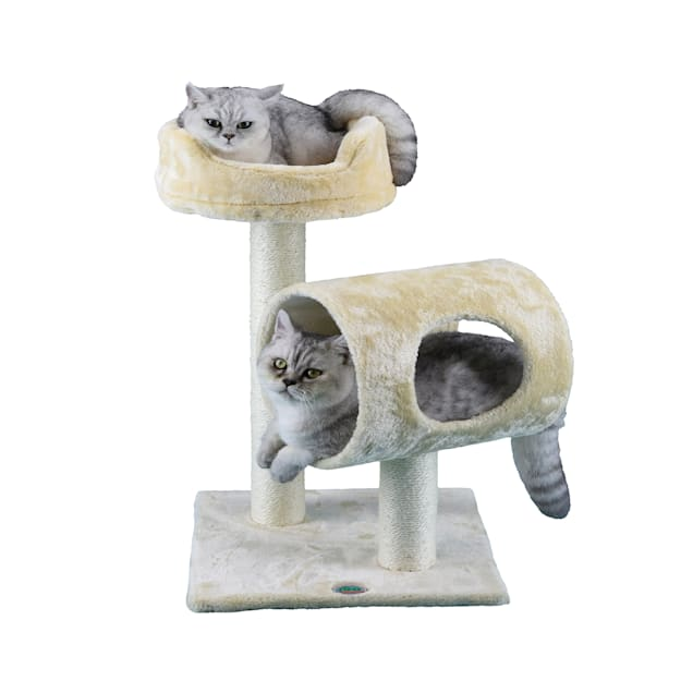 """Go Pet Club Beige 27""""  Cat Tree with Tunnel and Bed - Carousel image #1"""