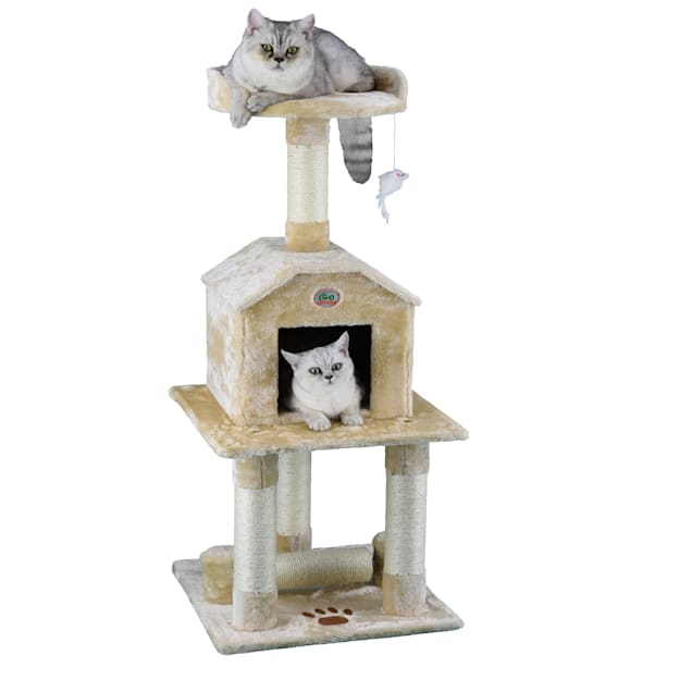 """Go Pet Club Beige 45"""" Cat Tree Condo with Dangling Toy - Carousel image #1"""