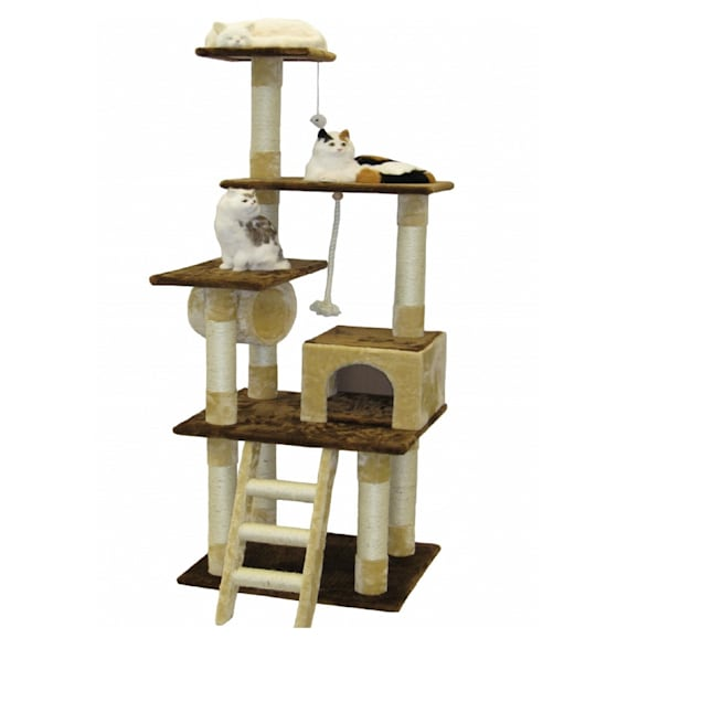 """Go Pet Club Beige and Brown 67""""  Cat Condo with Ladder and Tunnel - Carousel image #1"""