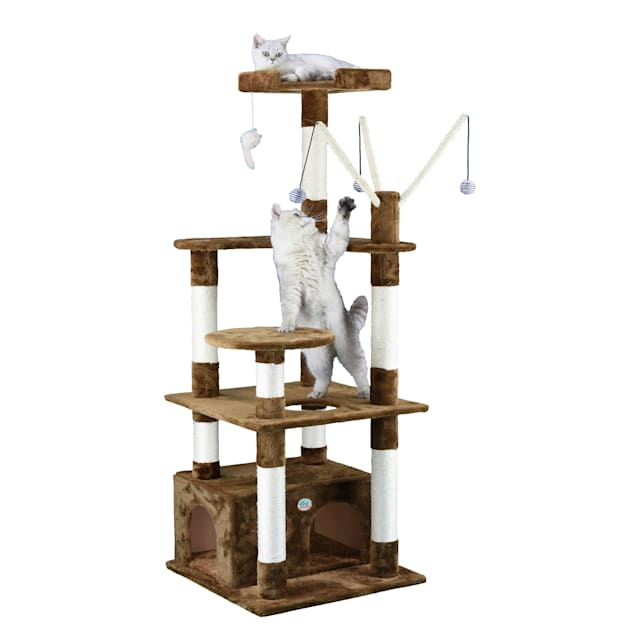 """Go Pet Club Brown 65.5"""" Cat Tree Condo with Dangling Toys - Carousel image #1"""