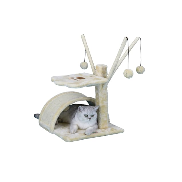 """Go Pet Club Beige 22"""" Cat Tree with Scratching Board and Dangling Toys - Carousel image #1"""