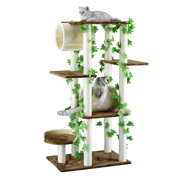 """Go Pet Club Beige and Brown 58"""" Forest Cat Tree with Two Tunnels - Carousel image #1"""