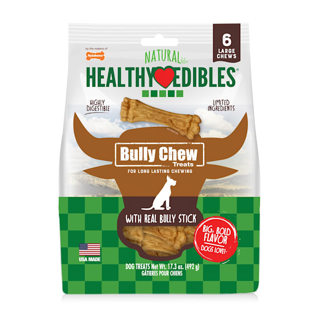 Nylabone Healthy Edibles Bully Chews Natural Made with Real Bully Stick Large Dog Treats, 17.3 oz., Count of 6 - Carousel image #1