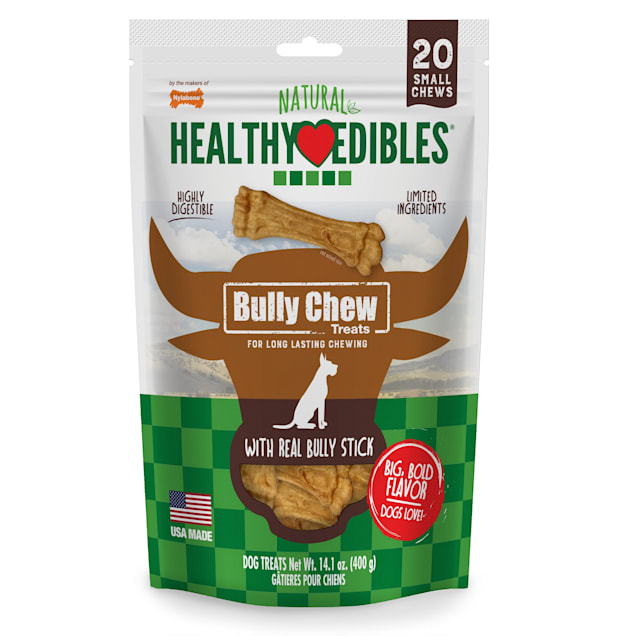 Nylabone Healthy Edibles Bully Chews Natural Made with Real Bully Stick Small Dog Treats, 14.1 oz., Count of 20 - Carousel image #1