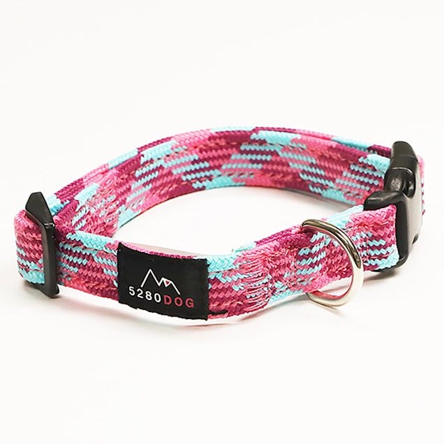 5280DOG Pink Nylon Braided Collar, Small - Carousel image #1