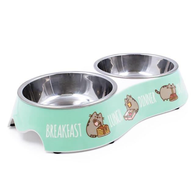 Pusheen Mealtime Blue Double Pet Bowl, 0.75 Cup - Carousel image #1