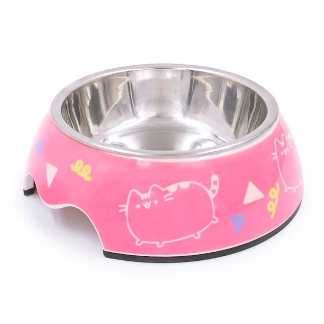 Pusheen Dance Party Pink Stainless Steel Cat Bowl, 0.75 Cup - Carousel image #1