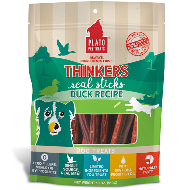 Plato Pet Thinkers Duck Sticks Dog Treats, 18 oz. - Carousel image #1