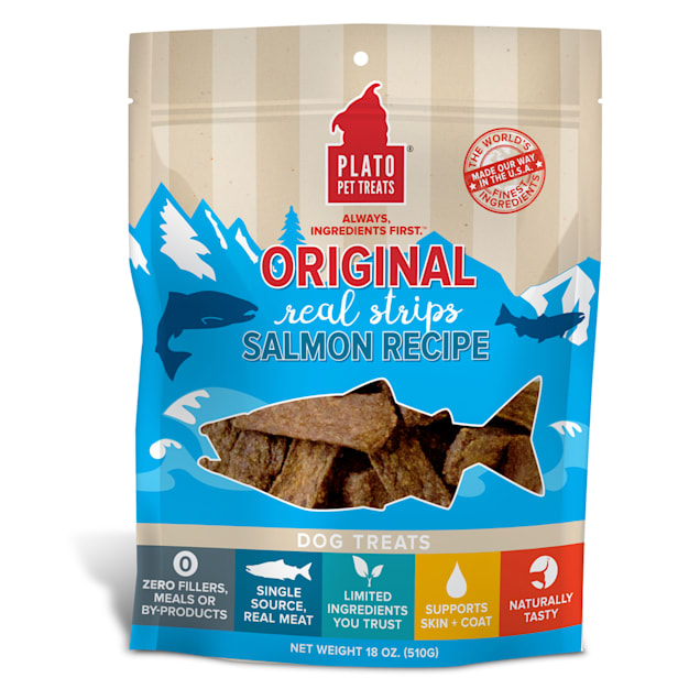 Plato Pet Salmon Strips Dog Treats, 18 oz. - Carousel image #1