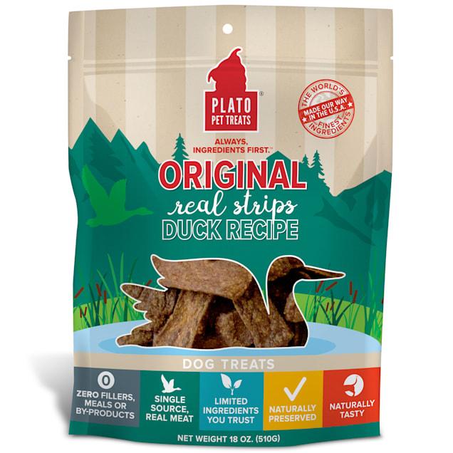 Plato Pet Natural Duck Strips Dog Treats, 18 oz. - Carousel image #1