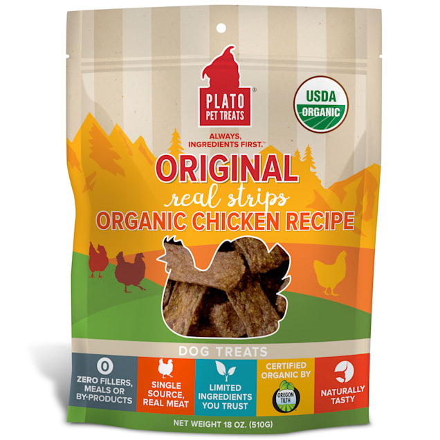 Plato Pet Organic Chicken Strips Dog Treats, 18 oz. - Carousel image #1