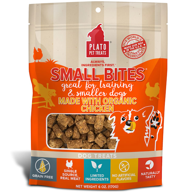 Plato Pet Small Bites Made with Organic Chicken Dog Treats, 6 oz. - Carousel image #1
