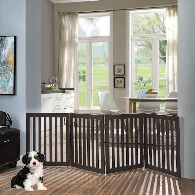"""UniPaws Flat Wooden 4 Panel Dog Gate Espresso Freestanding, 20""""-80"""" W X 24"""" H - Carousel image #1"""