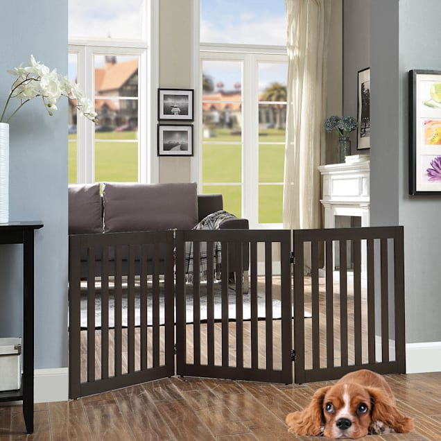"""UniPaws Flat Wooden 3 Panel Dog Gate Espresso Freestanding, 20""""-60"""" W X 24"""" H - Carousel image #1"""