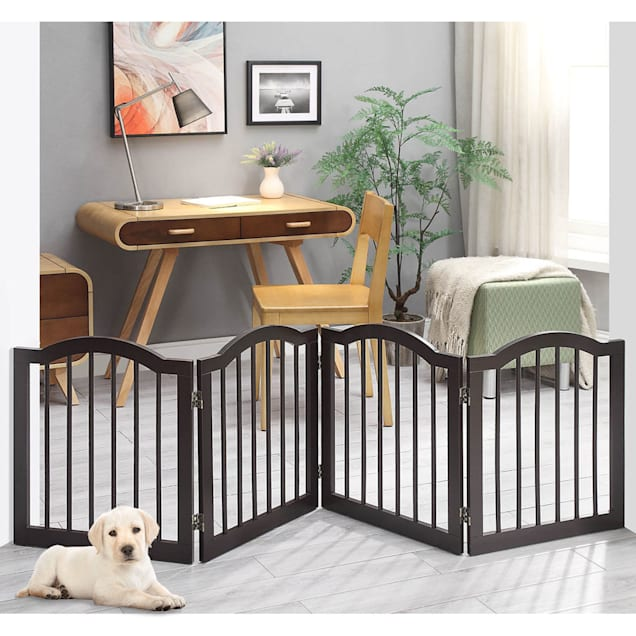 """UniPaws Arched Top 4 Panel Dog Gate Espresso Freestanding, 20""""-80"""" W X 24"""" H - Carousel image #1"""