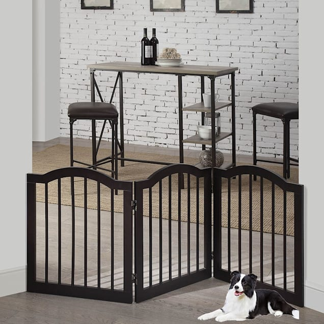 "UniPaws Arched Top 3 Panel Dog Gate Espresso Freestanding, 20""-60"" W X 24"" H - Carousel image #1"