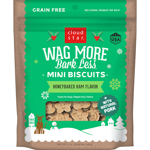 Cloud Star Wag More Bark Less Holiday Mini Biscuits Honey Baked Ham Flavor Dog Treats, 7 oz. - Carousel image #1