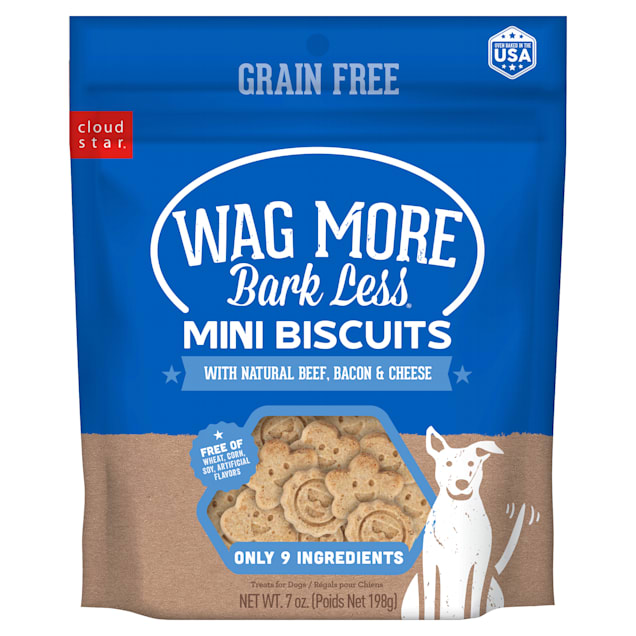 Cloud Star Wag More Bark Less Grain Free Mini Oven Baked Beef, Bacon & Cheese Flavor Dog Treats, 7 oz. - Carousel image #1