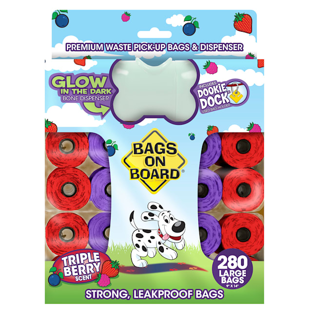 Bags on Board Waste Pickup Bags & Glow in the Dark Dispenser Combo Pack for Dogs, 280 Bags - Carousel image #1