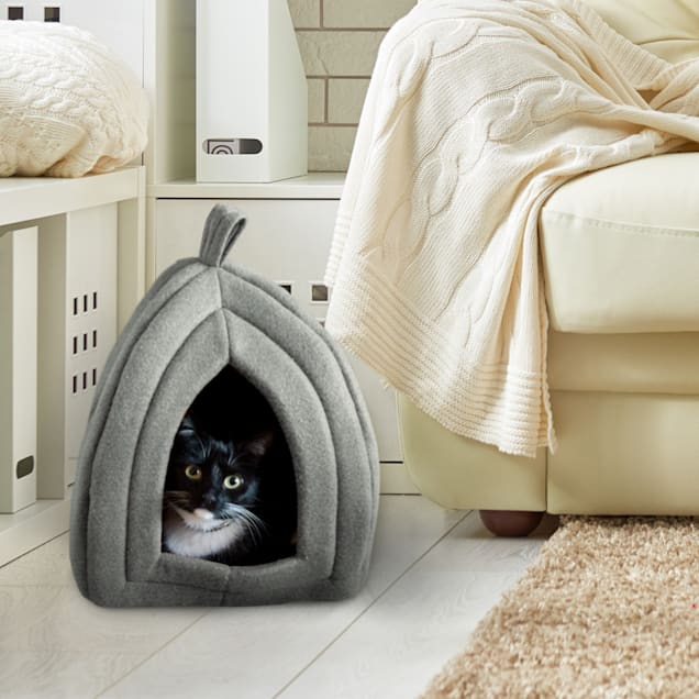 """PETMAKER Igloo Soft Indoor Enclosed Covered Tent/House with Removable Grey Cushion Bed for Cats, 13.5"""" L X 13.5"""" W X 16.5"""" H - Carousel image #1"""