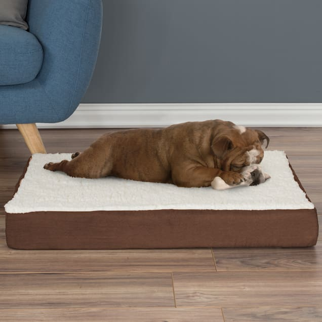 """PETMAKER Orthopedic Brown Sherpa Top Pet Bed with Memory Foam and Removable Cover, 30"""" L X 20.5"""" W X 4"""" H - Carousel image #1"""