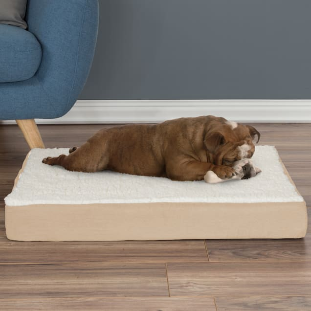 """PETMAKER Orthopedic Tan Sherpa Top Pet Bed with Memory Foam and Removable Cover, 30"""" L X 20.5"""" W X 4"""" H - Carousel image #1"""