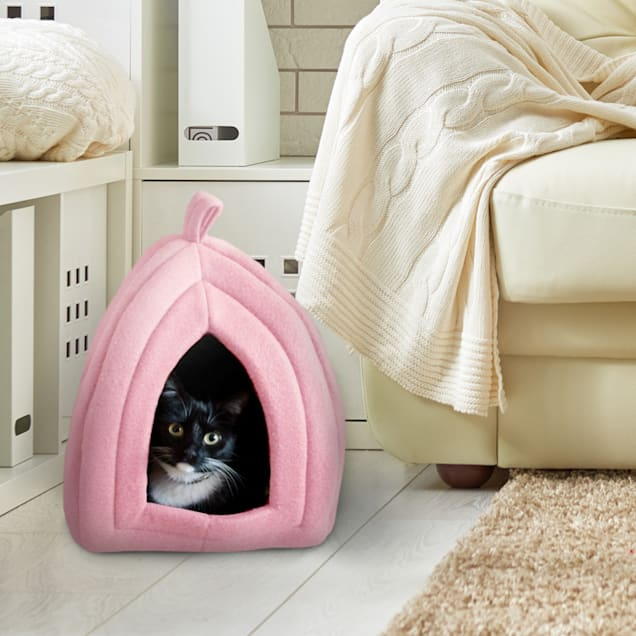 """PETMAKER Igloo Soft Indoor Enclosed Covered Tent/House with Removable Pink Cushion Bed for Cats, 13.5"""" L X 13.5"""" W X 16.5"""" H - Carousel image #1"""